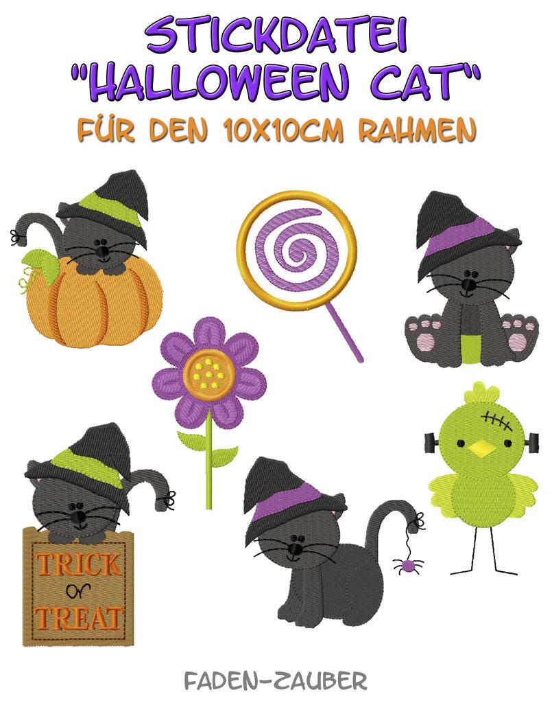 Halloween Cat - Stickdatei-Set für den 10x10cm Rahmen - Faden-Zauber