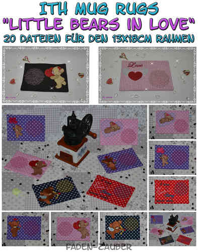 Mug Rugs Little bears in love - ITH für den 13x18cm Rahmen