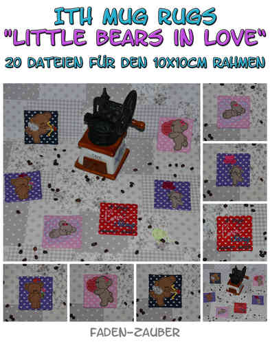 Mug Rugs Little bears in love - ITH für den 10x10cm Rahmen