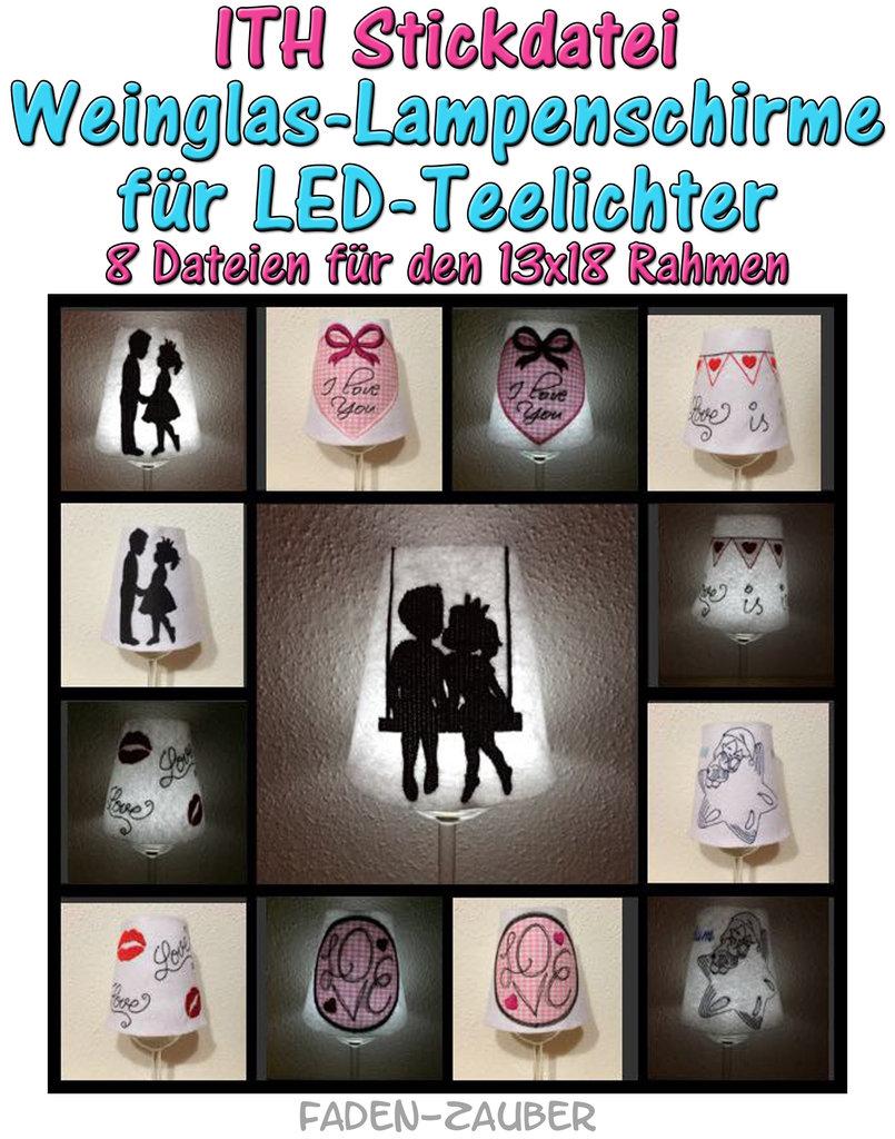LED-Teelicht Weinglasschirme - ITH für den 13x18cm Rahmen - Faden-Zauber