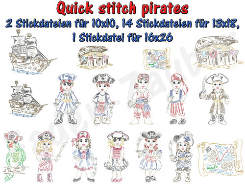 Quick stitch pirates - Stickdatei-Set für den 13x18cm Rahmen