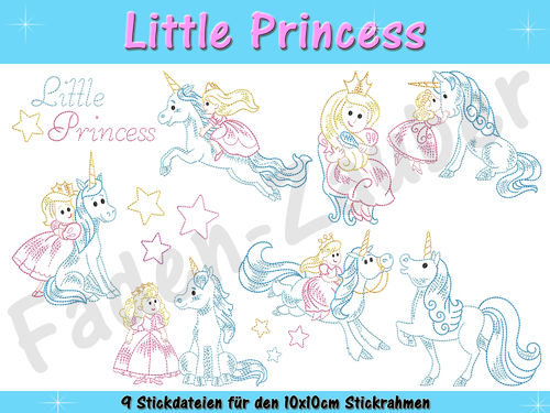Little Princess - Stickdatei-Set für den 10x10cm Rahmen