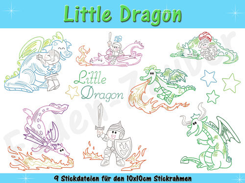 Little Dragon - Stickdatei-Set für den 10x10cm Rahmen