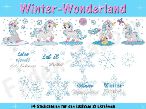 Winter-Wonderland - Stickdatei-Set für den 13x18cm Rahmen