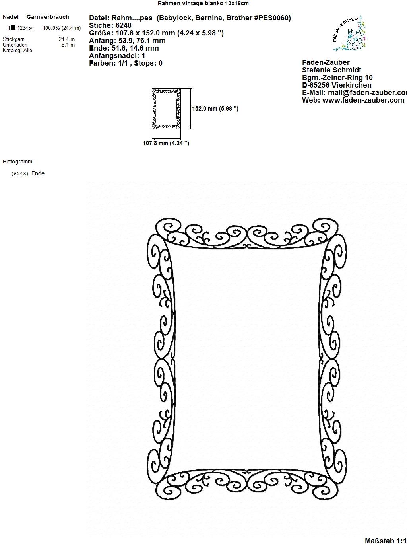 Rahmen vintage blanko - für den 13x18cm Rahmen - Faden-Zauber