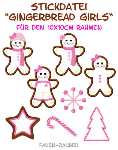 Gingerbread Girls - Stickdatei-Set für den 10x10cm Rahmen