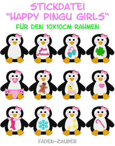 Happy Pingu Girls - Stickdatei-Set für den 10x10cm Rahmen