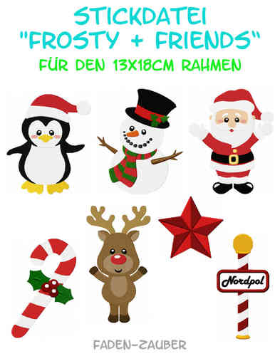 Frosty & Friends - Stickdatei-Set für den 13x18cm Rahmen