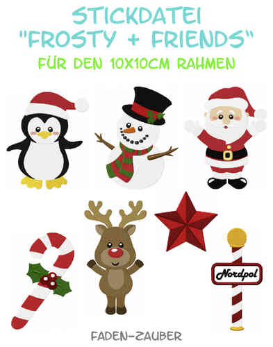Frosty & Friends - Stickdatei-Set für den 10x10cm Rahmen