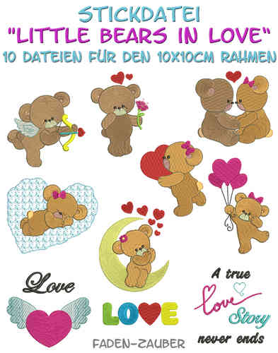 Little bears in love - Stickdatei-Set für den 10x10cm Rahmen