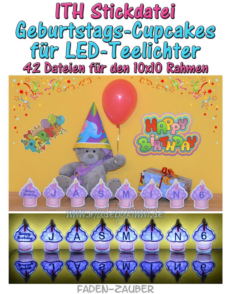 LED-Teelicht-Cupcakes - ITH für den 10x10cm Rahmen - Faden-Zauber