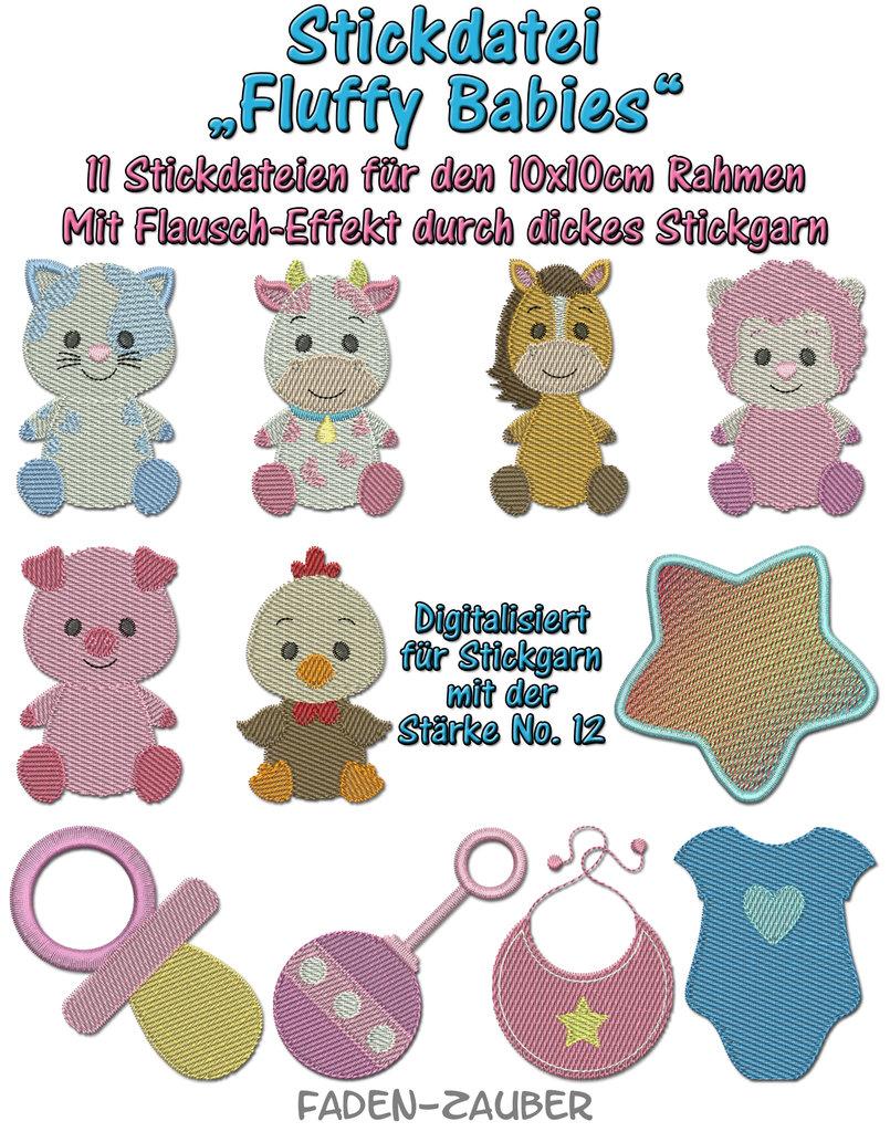 Fluffy Babies - Stickdatei-Set für den 10x10cm Rahmen - Faden-Zauber