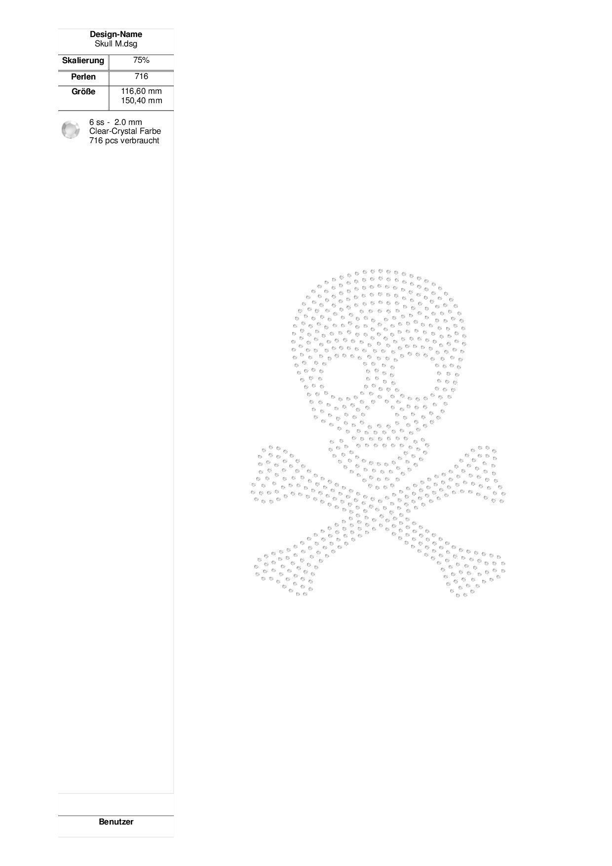 Skull Strass-Design - für Plotter und von Hand - Faden-Zauber