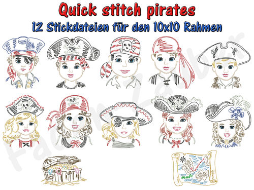 Quick stitch pirates - Stickdatei-Set für den 10x10cm Rahmen