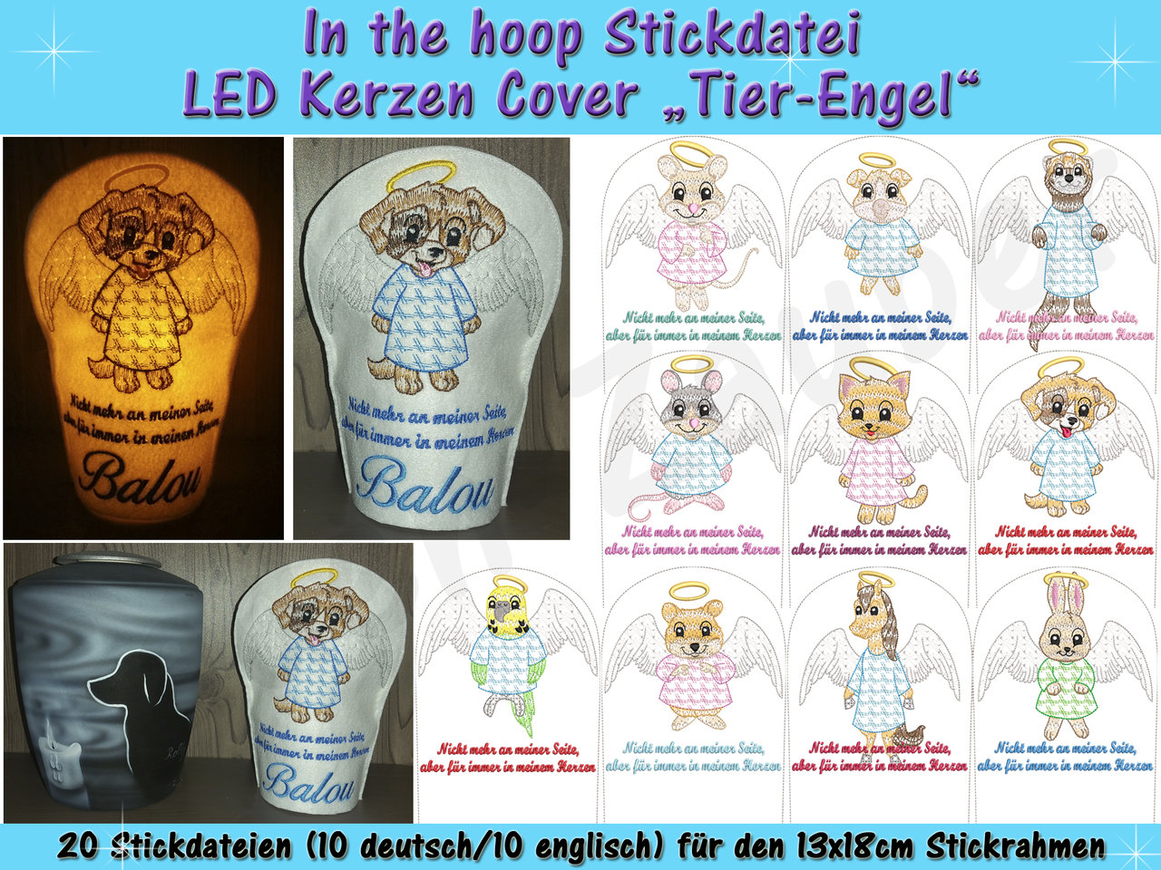 LED Kerzen-Cover Tier-Engel - ITH für den 13x18cm Rahmen - Faden-Zauber