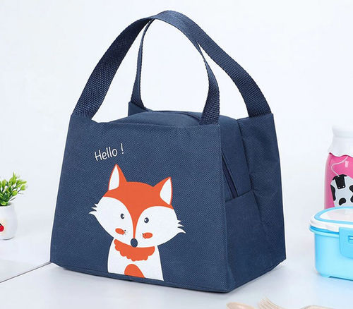 Lunch-Tasche isoliert mit Fuchs-Motiv in blau
