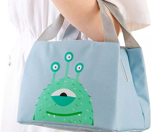 Lunch-Tasche isoliert mit Monster-Motiv in blau